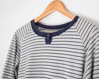 Women's vintage stripped long sleeve / grey / navy / shirt