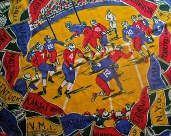 Football Scarf Silk 50s Rolled Edges College Teams Colorful Pennants Princeton Dartmouth Yale UCLA Purdue NYU Arkansas Kansas Cornell RARE