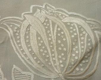 "Antique ART DECO Era Silk Piano Shawl...85"" Long, 23"" Wide.. Plus 8"" Fringe...Wedding...Good Condition"