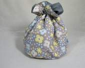 SALE Flower Project Bag. Small Drawstring bag ideal for knitting or crochet projects