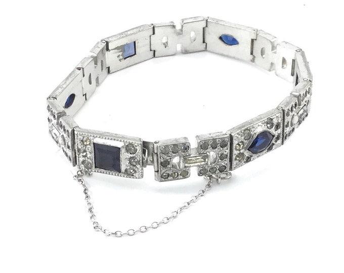 Antique Edwardian Bracelet. Art Deco Sapphire Glass and Pave Rhinestone Silver tone Bracelet. Glass Bracelet. Pave Bracelet.