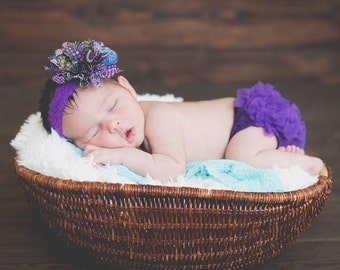 Baby Girl Ruffle Bottom Bloomer & Headband Set in Purple Peacock - Newborn Photo - Infant Bloomers - Diaper Cover- Baby Gift - Cake Smash