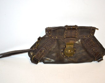 Vintage 90s brown with gold small leather purse  hand crafted designer made in Italy wristlet bag travel bag