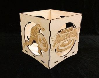 Captain America Candle Holder-Unfinished Wooden Candle Lantern-engravable candle box-Superhero gift-Captain America wooden candle lantern