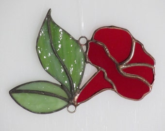 Stained Glass Red Morning Glory Trumpet and Leaves Suncatcher - Price Includes Shipping