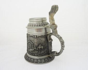 Vintage German SKS Zinn 95 Beer Stein, German Pewter Beer Mug
