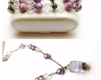 Vintage Bridal Bracelet & Necklace Set, CrystaLs, Faux Pearls, Silver Tone, Purple Beads, Item No. B529