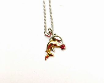Dolphin Pendant, Silver & Gold Tone, Red Rhinestone Eye, Silver tone Necklace, Clearance Sale, Item No. B525