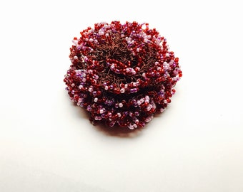 Crochet Copper Wire Flower Brooch, Beaded, Air Flower, Pink and Red Beads, Clearance Sale, Item No. B674