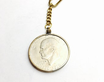 One 1976 USA dollar Keychain, Coin Collectors Gift, Item No. M020