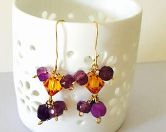 February Birthstone Amethyst earrings gold plated wire, Swarovski crystals, item No S230