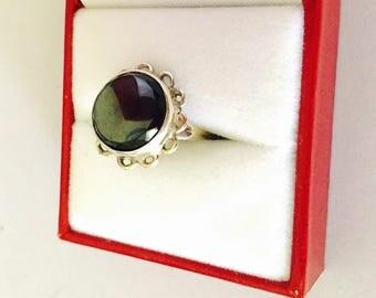 Vintage Black Stone Ring Size 6.5 , Round, Floral Design, Stamped .950, HALF OFF Sale, Item no. S309