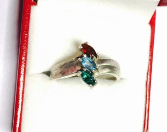 Cocktail Ring Size 9.5, Vintage Sterling, Multicolor Stone, Gift for Her, Item No. S471