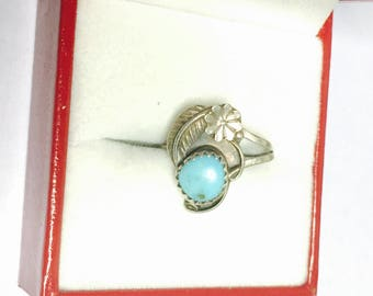 Navajo Turquoise  Ring Size 5., silver Feather, Native Design, Boho, Clearance Sale, Item No. S515