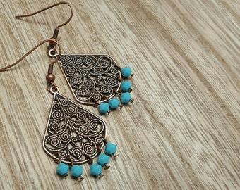 CHANDELIER copper filigree drop turquoise crystal beads earrings jewelry
