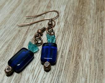 THE BOTTLE glass bead blue drop dangle earrings jewelry