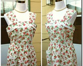 Vintage 1930s 30s White Floral Print Sundress House Dress Roses Poppies Medium Large