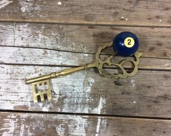 Large Brass Key, Skeleton key, Wall decor, 10 inches long, photo prop