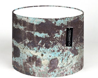Lamp Shade - Blue Oxide. Photography lampshade, aqua, blue, industrial, rust, modern, drum, cylinder.