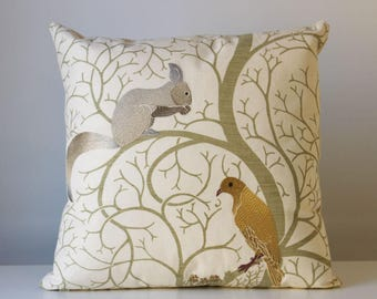 Embroidered Squirrel and Bird Pillow Cover 18 x 18