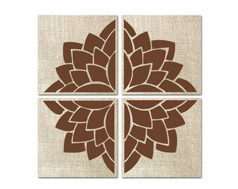 """Floral Wall Decor Set of 4 Canvases 12 x 12"""" each, Canvas Wall Art CUSTOMIZE COLORS"""
