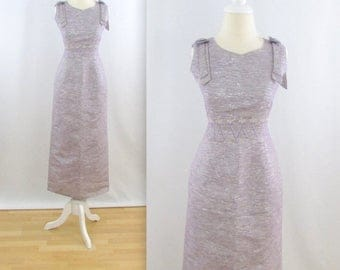 ON SALE Starlight Evening Dress - Vintage 1960s Formal Wiggle Dress in Silver + Mauve - Size Medium