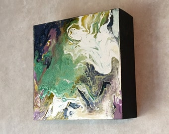 "Abstract Orginial 6""X6"" 2""deep wood cradled panel"