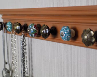 """jewelry necklace holder with 7 decorative knobs 26"""" great gift of decor and jewelry storage organization, Fall colors"""
