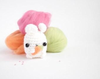 amigurumi bunny plush - white crochet bunny toy with carrot