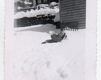 Baby In The Snow Mid Century Modern Photo Of A Child Children At Play In The Winter Black And White Photograph
