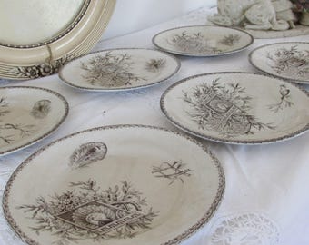 Antique French stunning set of three beautiful plates.  Very old transfer wear with delicate peacock design