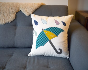 SALE: raindrop & umbrella pillow cover - teal, yellow eco-friendly - 18""