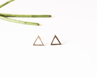 Minimalist Silver Stud Earrings - Open Silver Triangle Earrings
