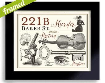 Sherlock BBC, Geekery, 221B Baker Street, Sherlock Holmes, Framed Art, London Detective Art Sleuth Dr Watson