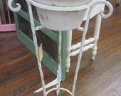 RESERVED for Christine Vintage Shabby Plant Stand Wrought Iron Farmhouse Chic Primitive Prairie