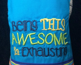 """XXS, XS, S, M, L   Boys harness """"Being This Awesome is Exhausting"""" embroidery"""
