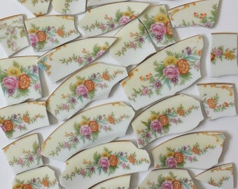 Mosaic Tiles Flowers PINK Vintage Floral Tiles - 30 Pieces