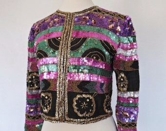 SALE:)) LAURENCE KAZAR . Amazing Beaded & Sequined All Over Black Silk Jacket Xs