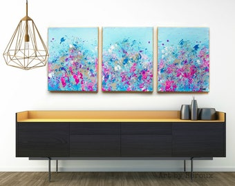 Triptych wall Art, 3 piece wall art, Canvas painting set, elegant home decor, Triptych canvas, Extra large painting, MADE TO ORDER