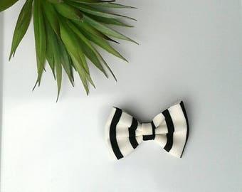 Hair bow black white striped stripes girls clip modern