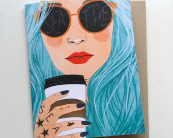 Seattle Blue Hair Hipster - A2 Greeting Card with Envelope