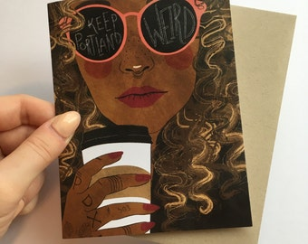 Keep Portland Weird - A2 Greeting Card with Envelope, woman, coffee, hipster, cool, Seattle