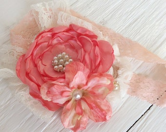 Coral peach headband baby girl headband toddler headband persnickety m2m headband matilda jane headband shabby chic headband newborn