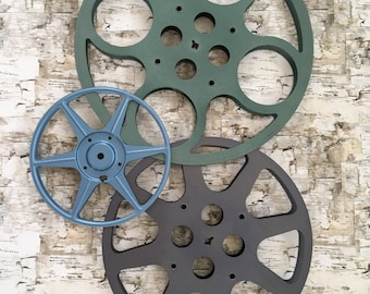 Vintage Metal Film Reels Set of 3 -- 3 Different Colors -- 3 Different Sizes -- Wall Art -- DIY Project