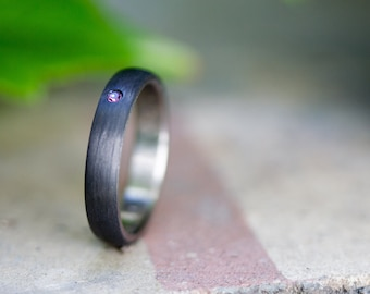 Women's titanium and carbon fiber ring. Black wedding band  with violet Swarovski .Water resistant and hypoallergenic. (00323_4Sv)