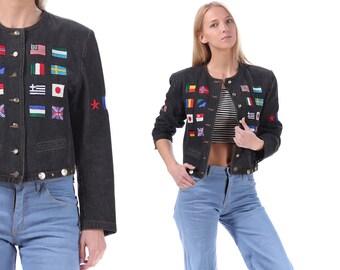 Vintage PATCHED Denim Jacket 80s Black Crop Jean Jacket International Flag Patches Grunge Biker Retro 1980s Vintage Button Up Hipster Medium