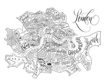 London Neighborhood Map - Handlettered & Printed