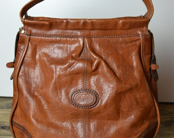 Vintage Distressed Cognac Brown Leather Colombian Hobo Bag - Large Shoulder Tote