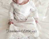 Christening gown baby girl Heirloom style embroidery monogrammed  white   made in the usa