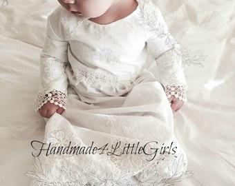 Monogrammed Christening Gown - Baptism Dress - Baby Girl Dress - Long Blessing Dress -  - Heirloom style Dress - Flower Girl Dress